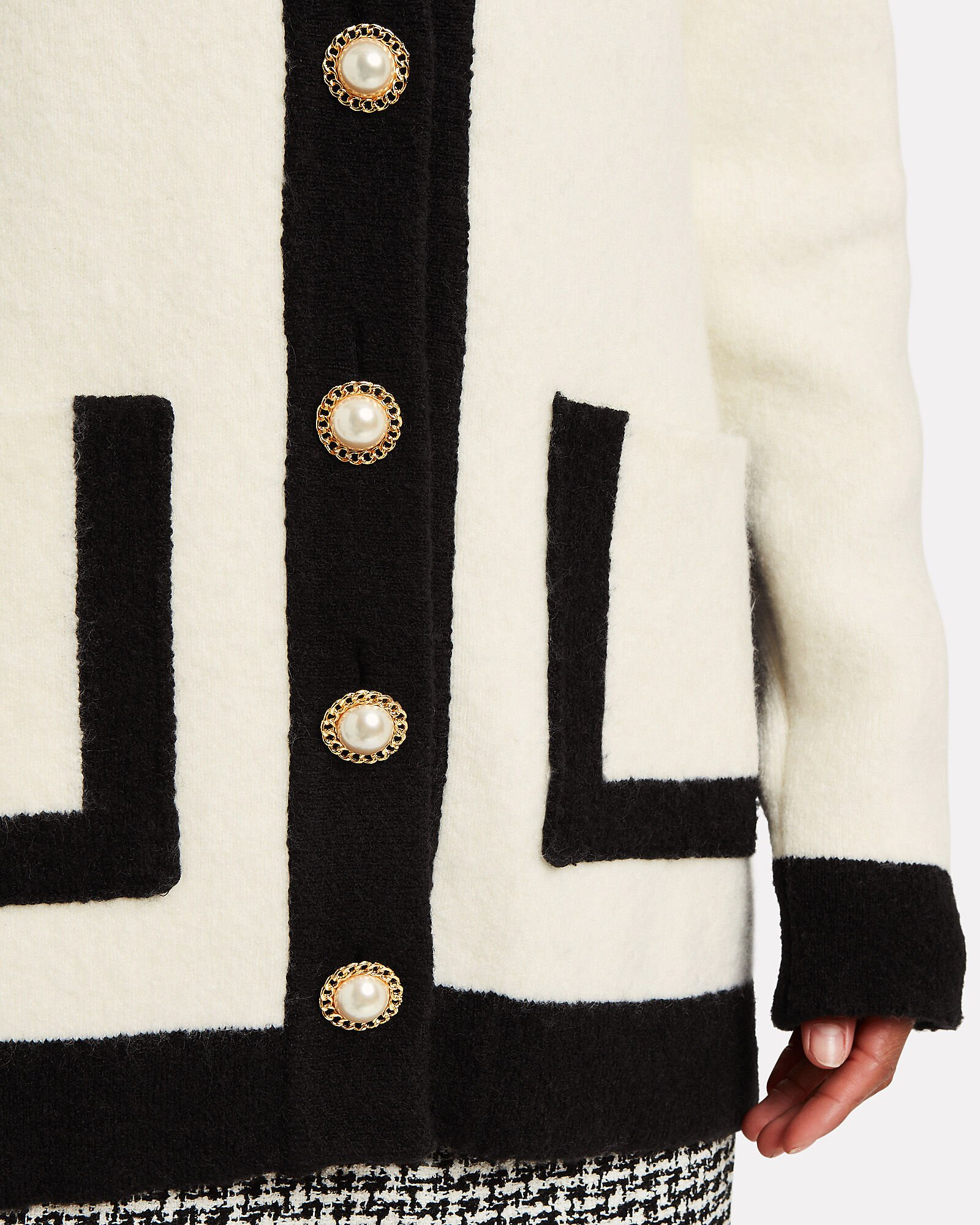 Contrast Knit Button Front Cardigan, BLK/WHT, hi-res