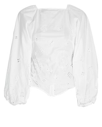 Broderie Anglaise Open Back Blouse, WHITE, hi-res