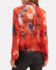 Floral Oversized Bow Detail Blouse, RED/FLORAL, hi-res