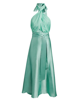 Grecian Silk Wrap Midi Dress, LIGHT GREEN, hi-res