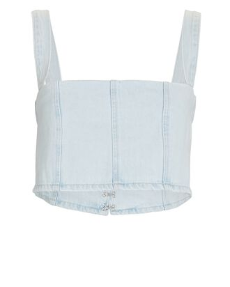 Sleeveless Bustier Denim Top, LIGHT ICY WASH, hi-res