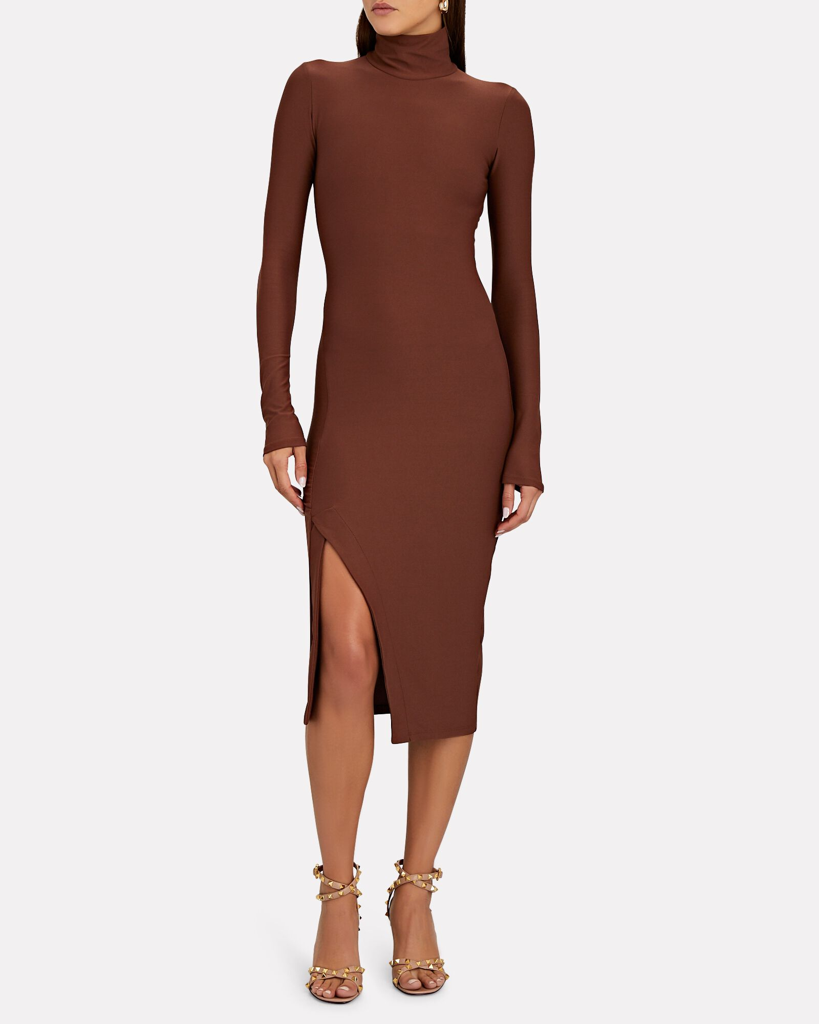 Ardsley Turtleneck Midi Dress, BROWN, hi-res