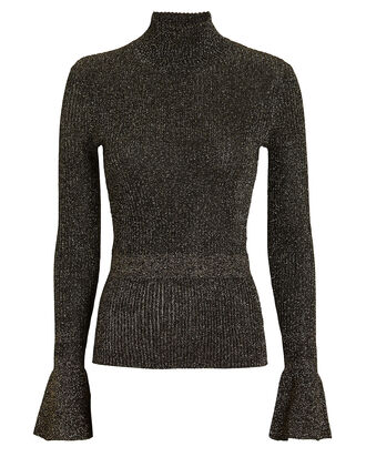 Lilia Lurex Rib Knit Turtleneck, GOLD, hi-res