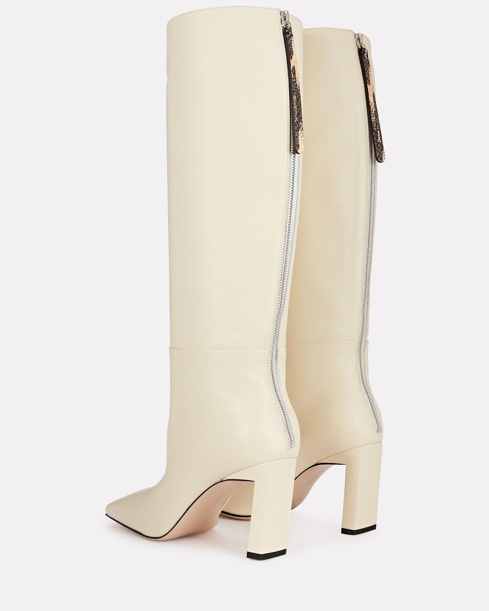 Isa Knee-High Leather Boots, IVORY, hi-res