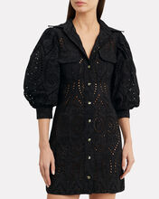 Broderie Anglaise Shirt Dress, BLACK, hi-res