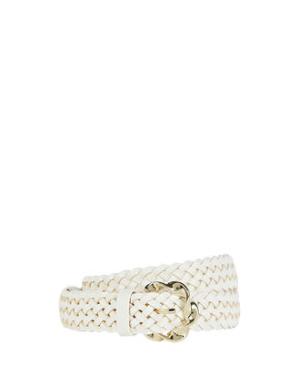 Josephine Abstract Twist Buckle Belt, WHITE, hi-res