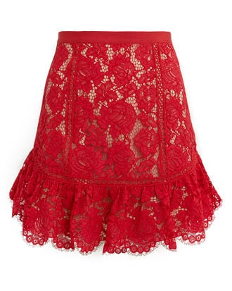 Elise Lace Mini Skirt, RED, hi-res