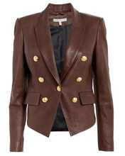Cooke Tumbled Leather Blazer, BROWN, hi-res