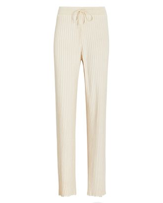 Ribbed Terry Straight-Leg Pants, IVORY, hi-res
