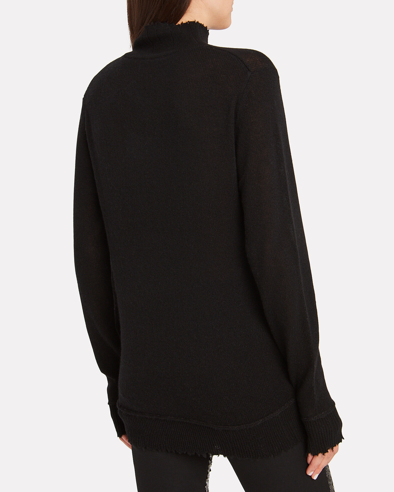 Distressed Edge Cashmere Turtleneck, BLACK, hi-res