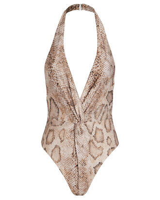 Gabriela Snake-Printed One-Piece Swimsuit, BEIGE PYTHON, hi-res