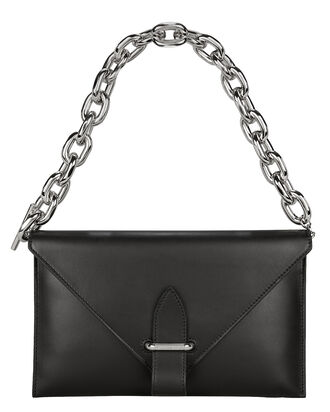 Chain Strap Envelope Clutch, BLACK, hi-res