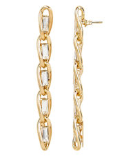 Slim Long Baguette Earrings, GOLD, hi-res