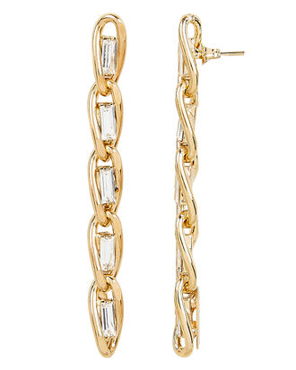 Baguette Crystal Drop Earrings, GOLD, hi-res