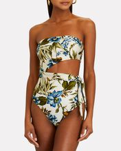 Aliane Scarf Cut-Out One-Piece Swimsuit, IVORY/GREEN, hi-res