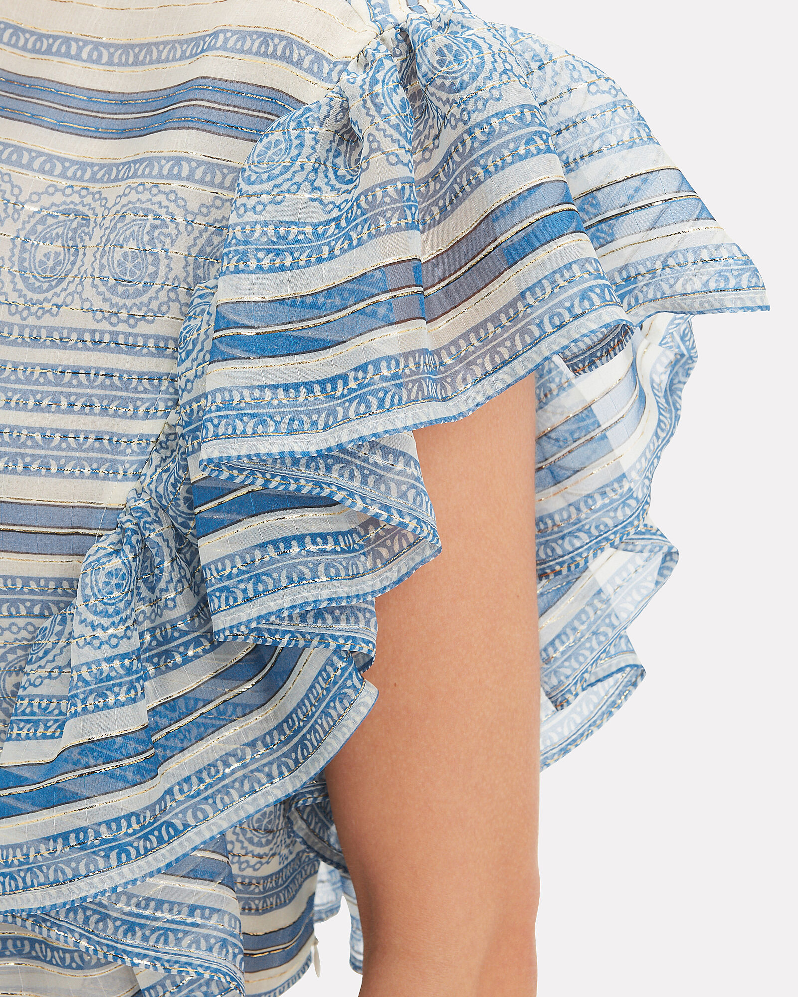 Ruffle Paisley Crop Top, BLUE-MED, hi-res