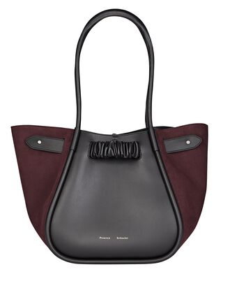 Suede-Trimmed L Leather Tote, MULTI, hi-res