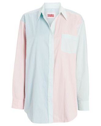 Striped Oversized Button-Down Shirt, WHITE/BLUE/PINK, hi-res