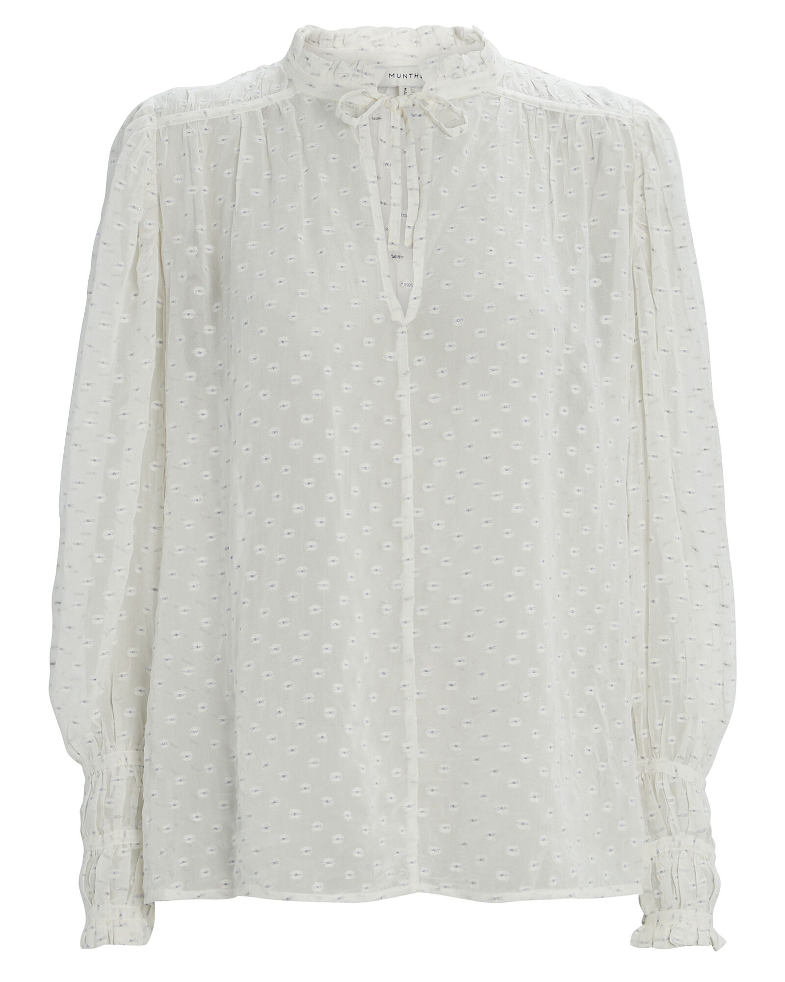 Jogger Embroidered Chiffon Blouse, WHITE, hi-res