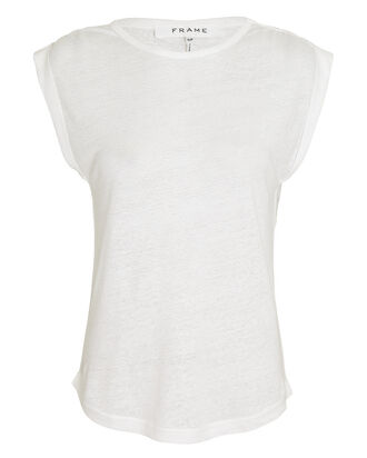 Slouchy Linen Tank Top, WHITE, hi-res