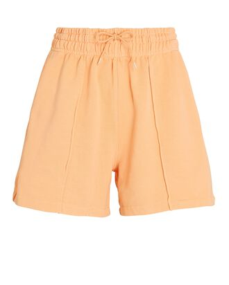 Pintuck Cotton Terry Shorts, ORANGE, hi-res