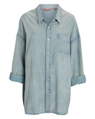 Oversized Chambray Button-Down Shirt, LIGHT BLUE, hi-res
