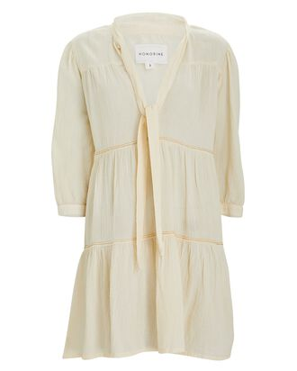 Giselle Tiered Cotton Mini Dress, IVORY, hi-res