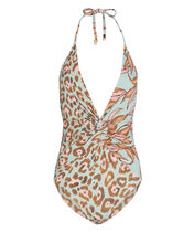Mixed Print One-Piece Swimsuit, SAGE GREEN/PRINT, hi-res