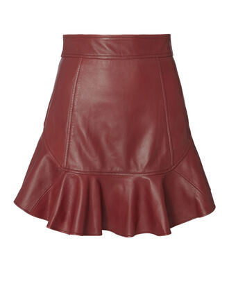 Melinda Leather Mini Skirt, RED, hi-res