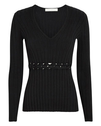 Braided Merino Wool Rib Knit Top, BLACK, hi-res