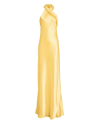 Yellow Bias-Cut Satin Gown, YELLOW, hi-res