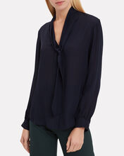 Gisele Tie Navy Blouse, NAVY, hi-res