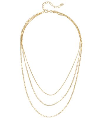 Triple Layer Chain Necklace, GOLD, hi-res