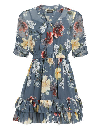 Slate Floral Mini Dress, SLATE BLUE, hi-res