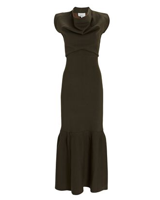 Rib Knit Cowl Neck Maxi Dress, OLIVE, hi-res
