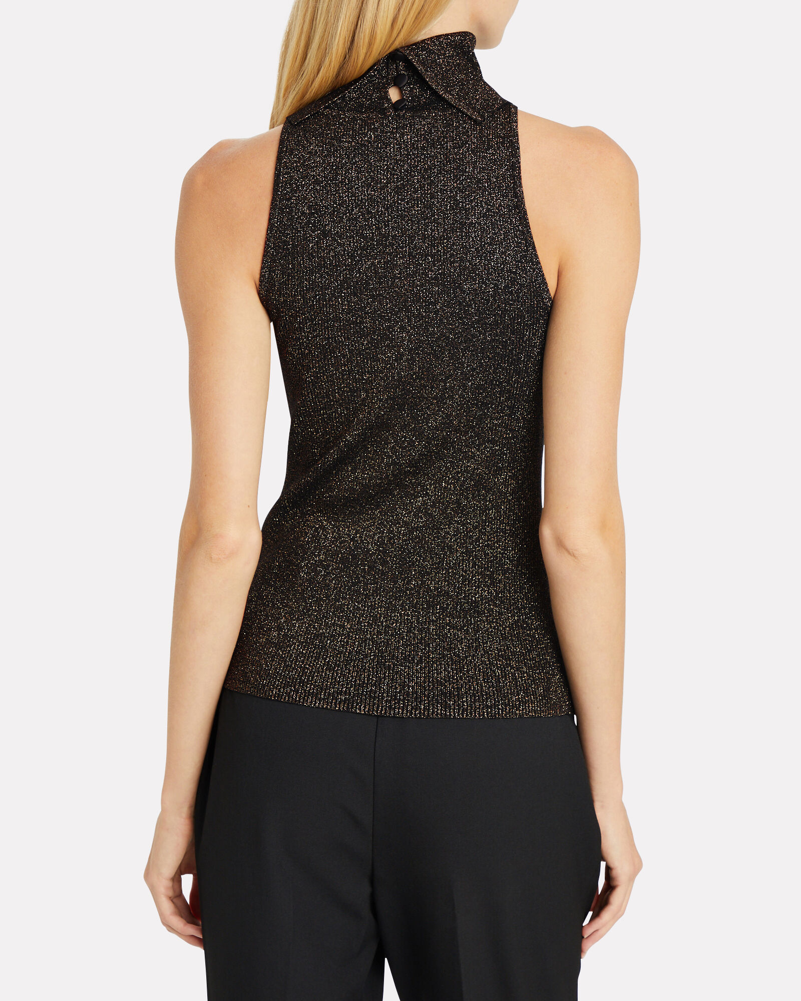 Susanna Turtleneck Knit Top, BLACK/GOLD METALLIC, hi-res