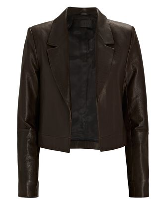 Wynn Cropped Leather Blazer, BROWN, hi-res