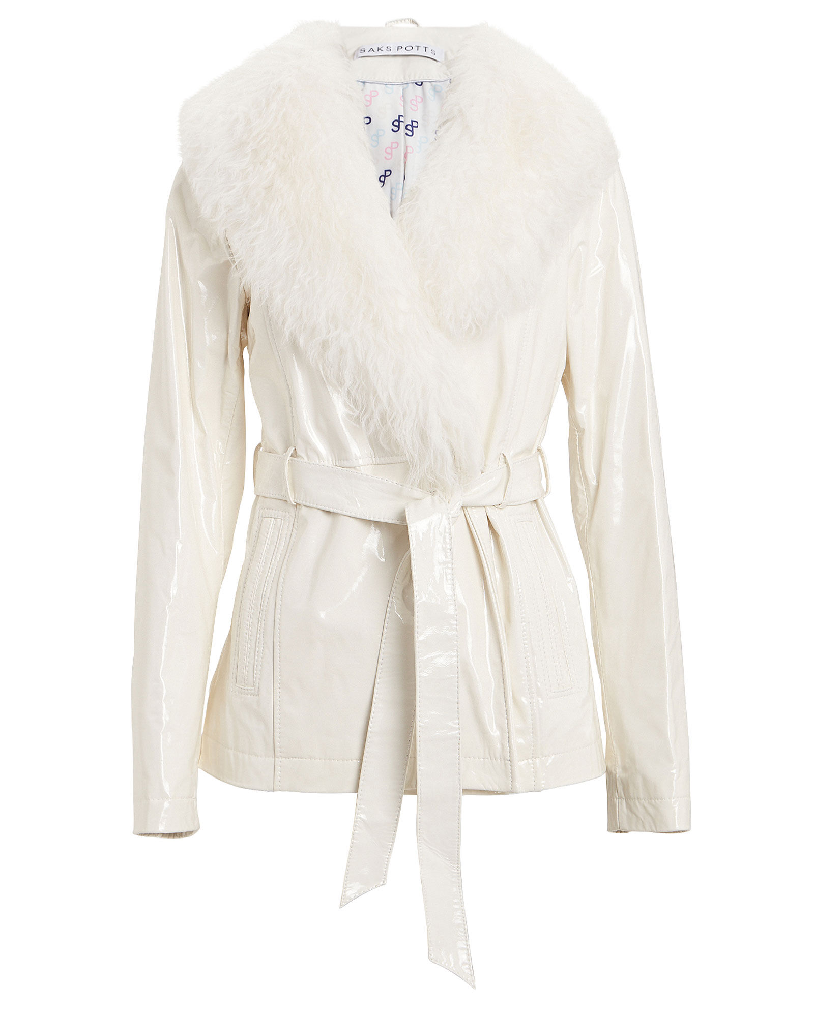 Ritual Shearling Patent Leather Jacket, WHITE, hi-res