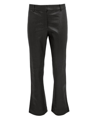 Leather Cropped Flare Trousers, BLACK, hi-res