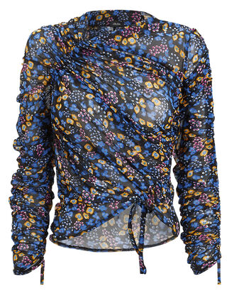 Floral Stretch Ruched Top, BLUE/YELLOW/FLORAL, hi-res