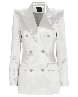 Metallic Double-Breasted Blazer, IVORY, hi-res