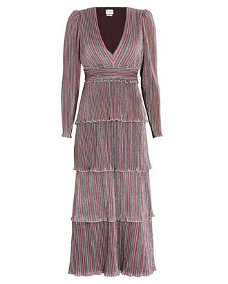 Alison Striped Long Sleeve Midi Dress, MULTI, hi-res