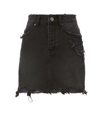 Moss Distressed Denim Mini Skirt, BLACK, hi-res