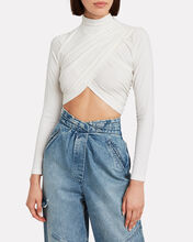 Momentary Wrap Crop Top, IVORY, hi-res