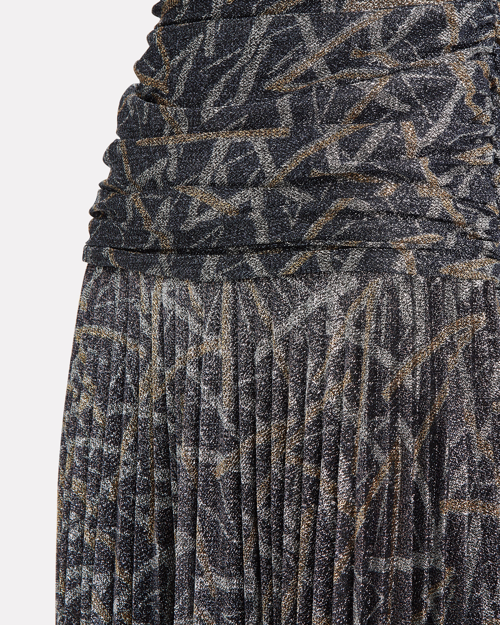 Lurex Pleated Turtleneck Dress, GREY/ABSTRACT, hi-res