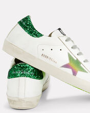 Superstar Green Glitter Back Low-Top Sneakers, WHITE, hi-res
