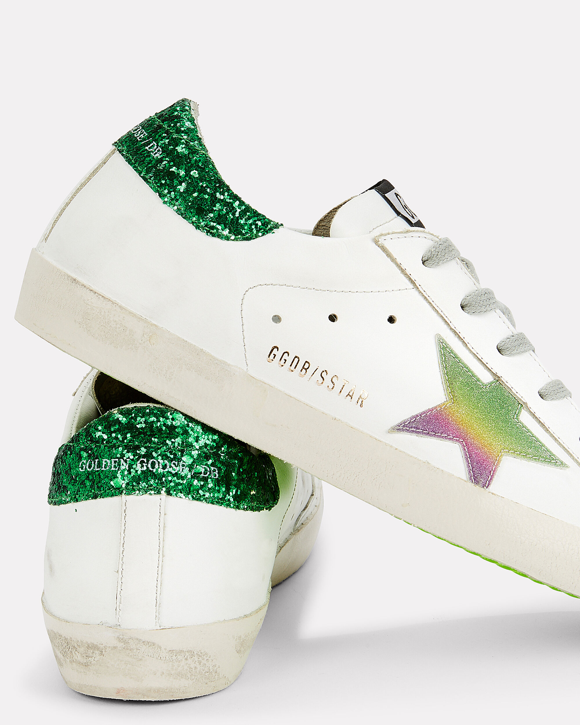 Superstar Green Glitter Back Low-Top Sneakers, WHITE/PINK/GREEN, hi-res