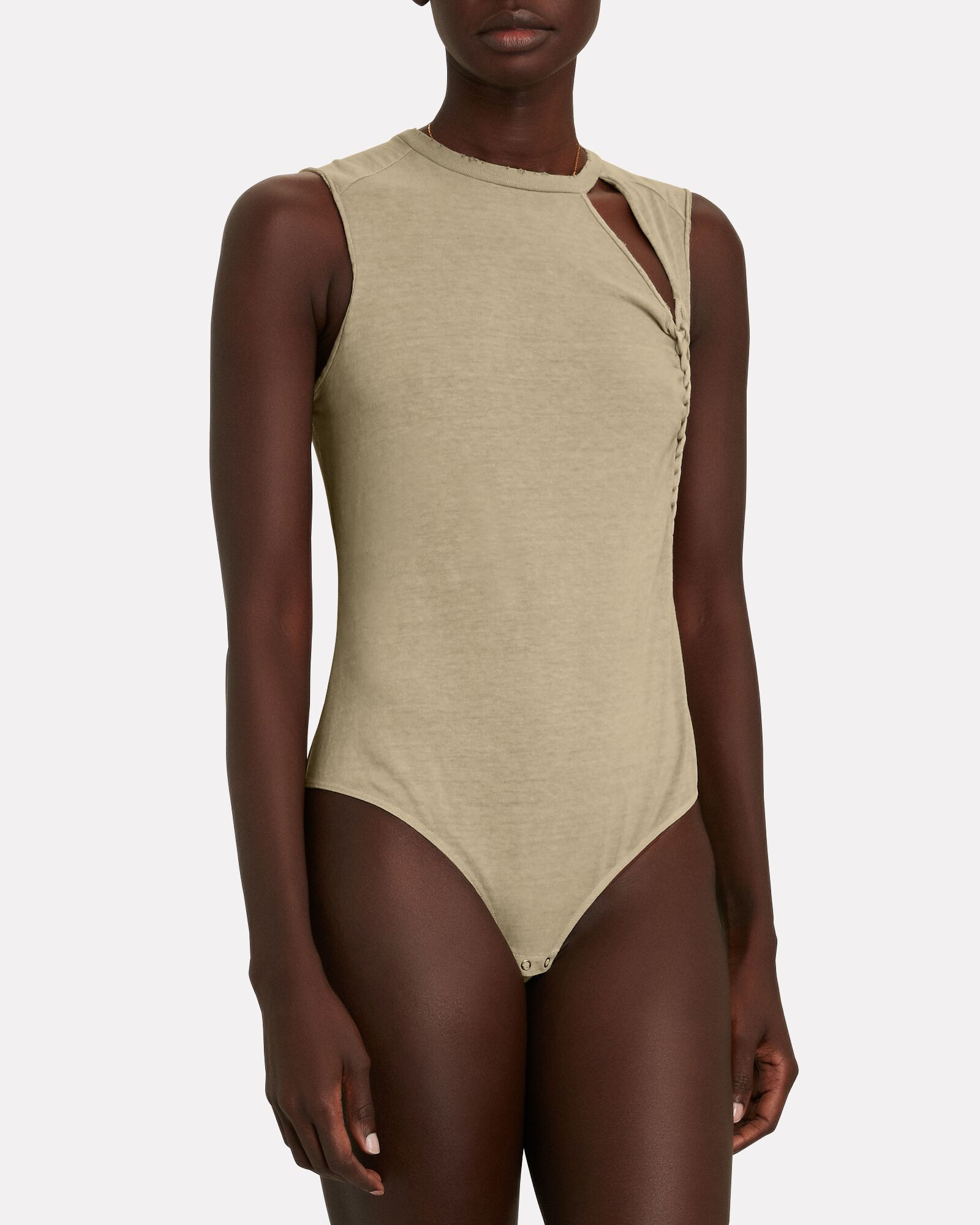 Cliff Sleeveless Cotton Bodysuit, BEIGE, hi-res