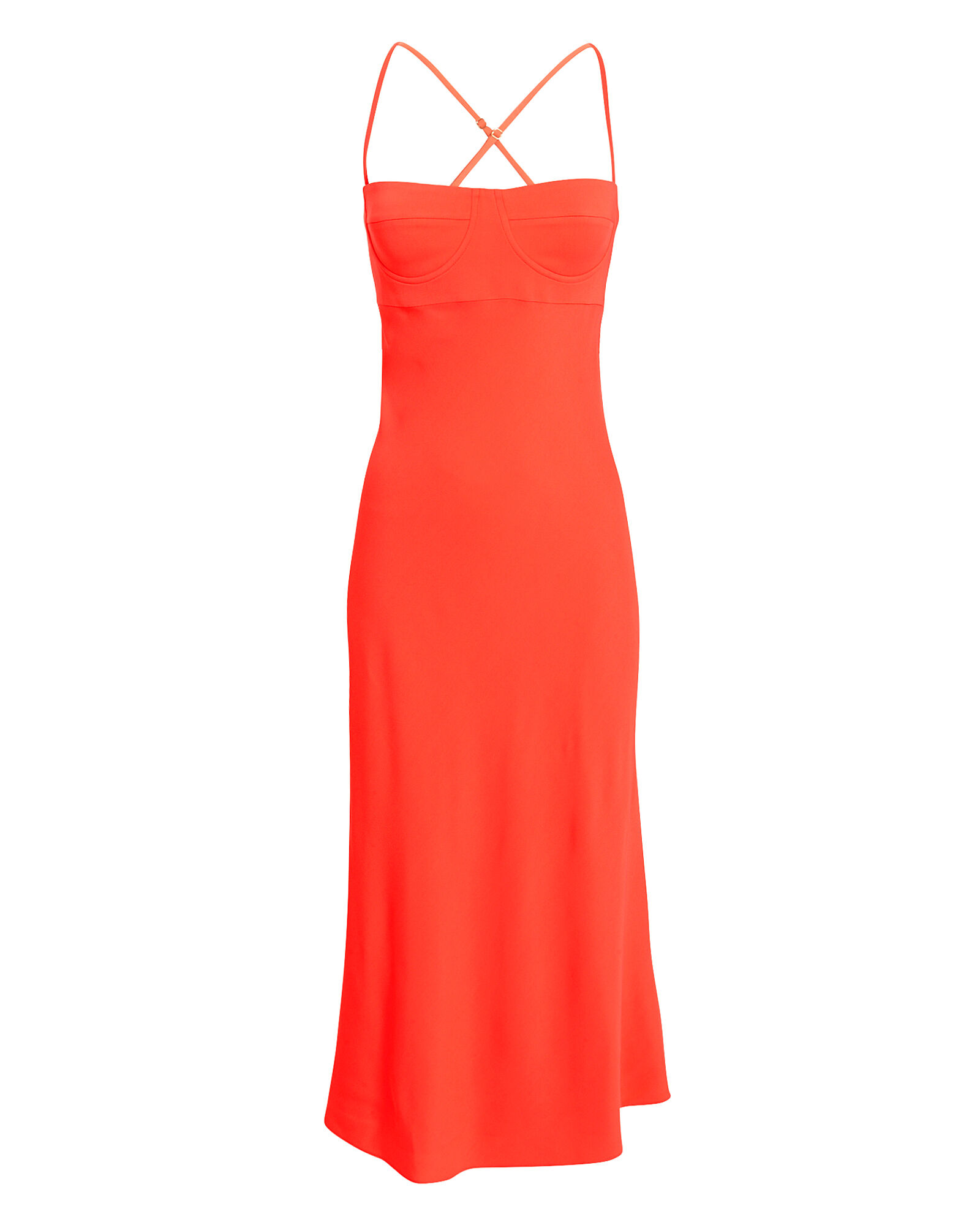 Crepe Bustier Midi Dress, ORANGE, hi-res