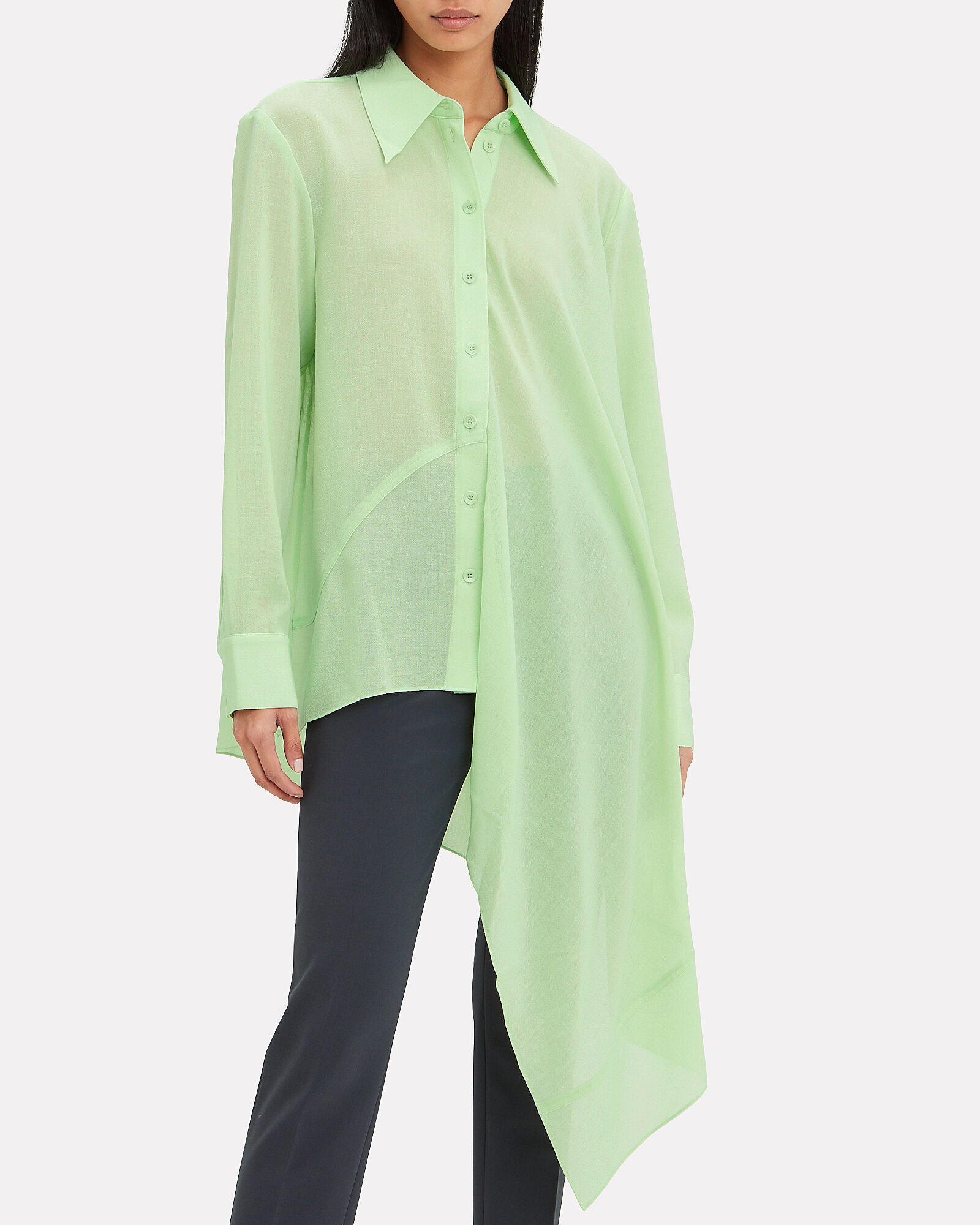 Asymmetric Shirt, GREEN-LT, hi-res